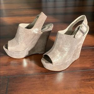 Grey Suede Iridescent Wedge Heel